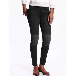 Rockstar Mid-Rise Black Jeans with Gray Knee Patch